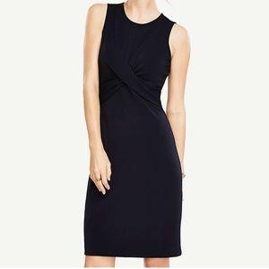 Ann Taylor Size 6 Navy Blue Twist Sheath Dress